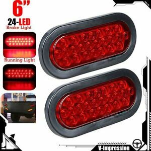 6 Inches Oval Oblong 24 Led Red Brake Stop Tail Light Rubber Mount Plug Truck