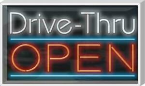 Outdoor Drive Thru Open Neon Sign Outdoor Jantec 37 Wide X 22 High