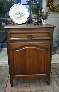 Slim Antique French Carved Tiger Oak End Table Wine Liquor Cabinet Nightstand