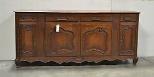 Large Antique French Country Normandy Oak Sideboard Cabinet 4 Door