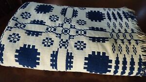 Ca Early 1800 S Hand Woven Wool Linen Overshot Weave Reversible Coverlet Blanket