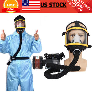 Electric Air Fed Full Face Gas Mask Constant Flow Supplied Respirator System Usa