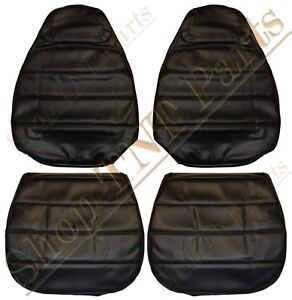 1971 74 Charger Roadrunner Bucket Seat Covers S E Button Style Black Vinyl Gtx