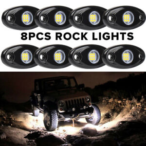 8x White Cree Led Rock Lights For Jeep Wrangler Jk Tj Yj Cj Off Road Truck 4wd