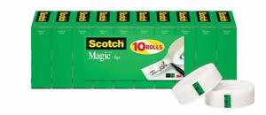 Scotch Magic Tape Standard Width Engineered For Mending Cuts Cleanly 3 4