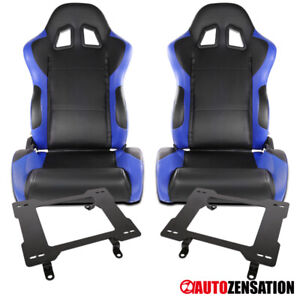 For Ford 79 98 Mustang Black blue Pvc Leather Racing Seats laser Welded Brackets