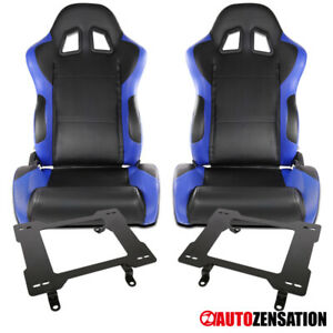 Ford 79 98 Mustang Black blue Pvc Leather Racing Seats Laser Welded Brackets