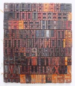 119 Piece Vintage Letterpress Wood Wooden Type Printing Blocks 50m m bc 5039