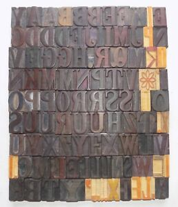 104 Piece Vintage Letterpress Wood Wooden Type Printing Blocks 50m m bc 5031