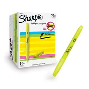 Sharpie 2003991 Pocket Highlighters Chisel Tip Fluorescent Yellow 36 Count