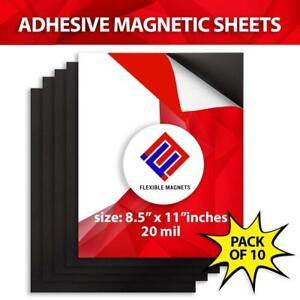 10 Adhesive Magnetic Sheets 8 5 X 11 20 Mil Magnet Peel