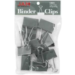 Jam Paper Colorful Binder Clips Large 1 1 2 Inch 41 Mm Grey