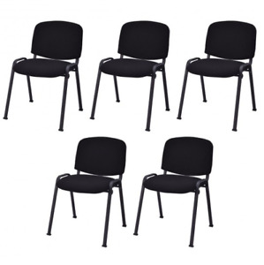 5pc Set Heavy Duty Black Stackable Conference Chair Padded Wedding Waiting Room