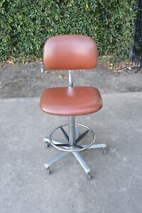 Domore Vintage Mid Century Heavy High End Reddish Brown Drafting Desk Chair Rare
