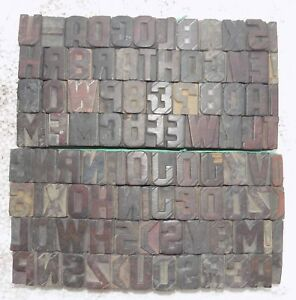 96 Piece Vintage Letterpress Wood Wooden Type Printing Blocks 24m m bc 5021