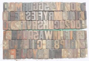 112 Piece Vintage Letterpress Wood Wooden Type Printing Blocks 33 M m bc 5002
