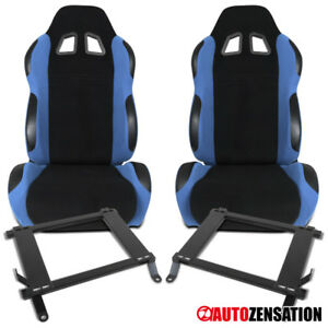 Ford 05 14 Mustang Black light Blue Cloth Reclining Seats Pair brackets