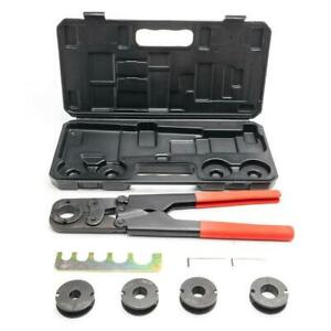 16 Steel Manual Pex Pipe Crimping Crimper Hand Tool Kit 5 Jaws Plastic Case