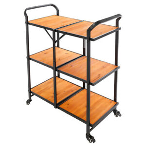 Wood Mobile Kitchen Island Counter Utility Server Cart Black Iron