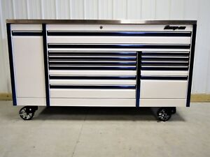 Snap On White Blue Trim 84 Epiq Tool Box Toolbox Stainless Steel Power Top