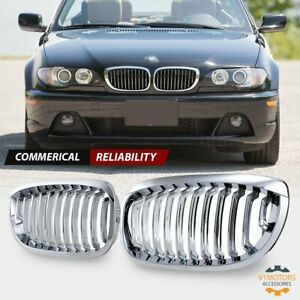 Chrome Front Kidney Grill Grille For Bmw E46 330ci Coupe Convertible Lci 03 06