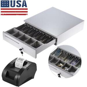 Cash Drawer Safe Box 5 bill coin Tray Pos Printer Store Money Lock Storage H6a0