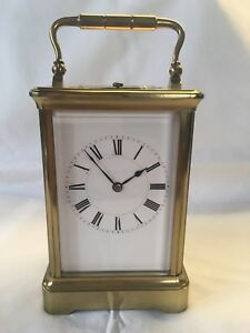 Antique Henri Jacot Hour Repeating Brass Carriage Clock Working Order