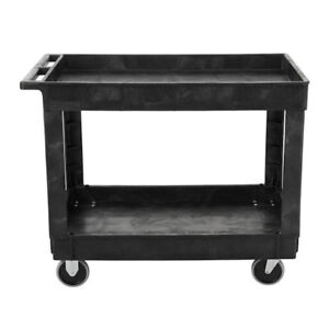 Rubbermaid Commercial 2 Shelf Service Utility Cart In Black