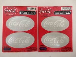 2 Set - 4 Coca-Cola Stickers w/ Etched Glass Effect Translucent Coke Decals