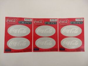 3 Sets of 2 - 6 Coca-Cola Stickers w Etched Glass Effect Translucent Coke Decals