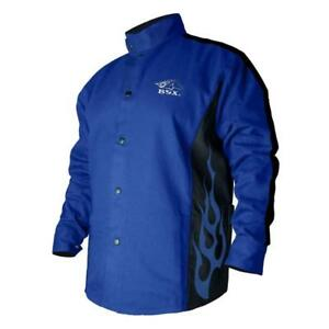Bsx Flame resistant Welding Jacket Blue With Flames Size Medium