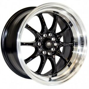Mst Wheels Mt11 Rims 16x8 15 Black Deep Lip 5x100 Stance Toyota Corolla Matrix