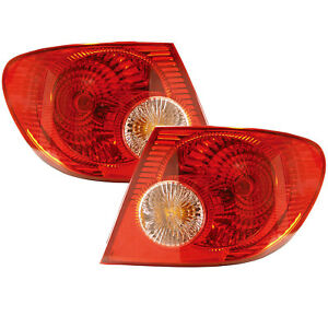 Tail Lights Set Left Right Pair W Amber Lens Fits 03 04 Toyota Corolla