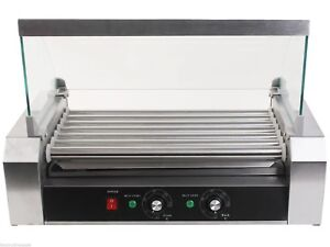 Commercial Electric 18 Hot Dog 7 Roller Grill Cooker Machine 1050 watt W Cover