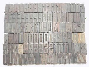 104 Piece Vintage Letterpress Wood Wooden Type Printing Blocks 34 M m bc 1843