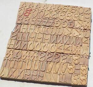 103 Piece Vintage Letterpress Wood Wooden Type Printing Blocks 40 M m Bc 1233