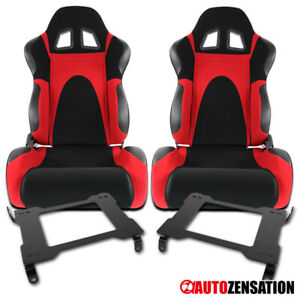 For 05 14 Ford Mustang Black red Faux Suede Racing Seats laser Welded Brackets