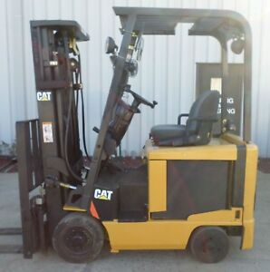 Caterpillar Model Ec15k 2004 3000 Lb Capacity Great 4 Wheel Electric Forklift
