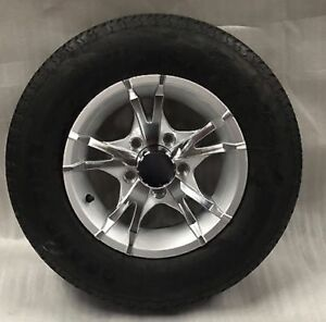 13 Inch 5 On 4 5 Silver 10 Spoke Aluminum Trailer With A 175 80r13 Tire