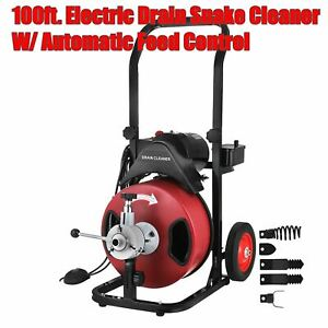 Commercial 100ft 3 8 Electric Drain Auger Sewage Cleaner Machine Snake W cutter
