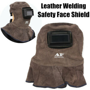 Ap 3001 Leather Welding Helmet Weld Lens Safety Face Shield W auto Dark Filter