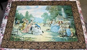 Antique Country French Painted Tapestry Garden Scene Signed A Borsari Circa 1890