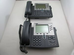 Lot Of 2 Cisco Cp 7961g Unified Voip Ip Phone 7961 Lcd Telephone Handset stand