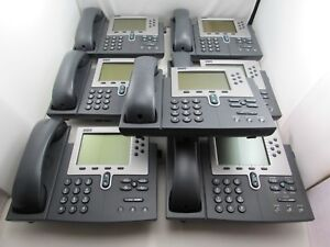 Lot Of 6 Cisco Cp 7940g Unified Ip Phone Voip Telephone Coil Cord Handset