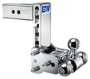 B w Chrome Tow Stow Tri ball Hitch Receiver 2 5 16 2 Ts20049c Adjustable 2 5