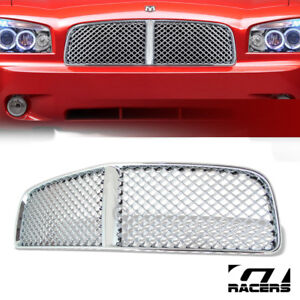 For 2006 2010 Dodge Charger Chrome Luxury Mesh Front Hood Bumper Grille Guard