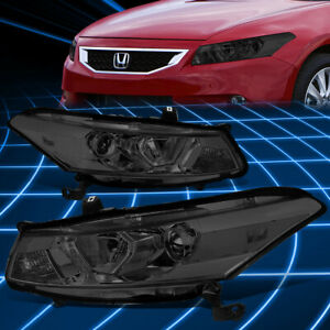 For 08 12 Honda Accord Coupe Smoked clear Side Projector Headlights Replacement