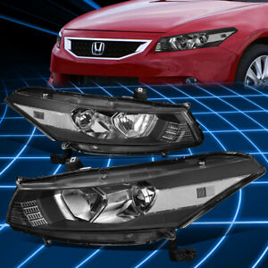 For 08 12 Honda Accord Coupe Projector Headlight Lamps Replacement Black clear