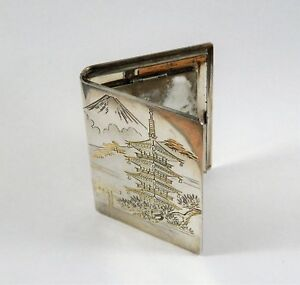 Japanese 950 Sterling Silver Compact Mirror Case Mt Fuji Japan P