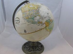Globemaster 12 Inch World Globe Brass Base Vintage Classic Raised Relief